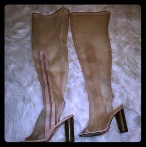 Thigh high see through, block heeled boot